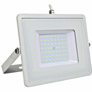 LED Bouwlamp 50 Watt - LED Schijnwerper - Viron Hisal - Warm Wit 3000K - Waterdicht IP65 - Mat Wit - Aluminium-1