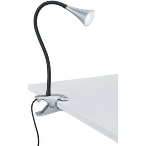 LED Klemlamp - Trion Vipa - 3W - Warm Wit 3000K - Glans Titaan - Kunststof-1