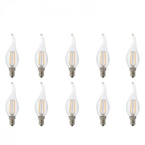 LED Lamp 10 Pack - Kaarslamp - Filament Flame - E14 Fitting - 4W - Warm Wit 2700K-1