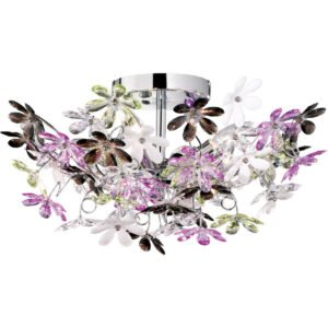 LED Plafondlamp - Plafondverlichting - Trion Flowy - E14 Fitting - 4-lichts - Rond - Glans Chroom Aluminium-1