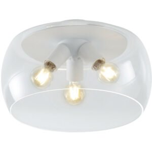 LED Plafondlamp - Plafondverlichting - Trion Valenti - E27 Fitting - Rond - Mat Wit - Aluminium-1