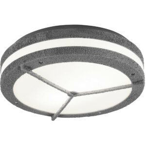 LED Plafondlamp - Trion Murinay - Opbouw Rond - Waterdicht IP54 - E27 Fitting - 2-lichts - Beton Look - Kunststof-1