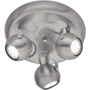 LED Plafondspot - Trion Bosty - GU10 Fitting - 3-lichts - Rond - Mat Nikkel - Aluminium-1