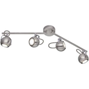 LED Plafondspot - Trion Bosty - GU10 Fitting - 4-lichts - Rond - Mat Nikkel - Aluminium-1