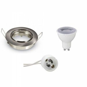 LED Spot Set - Aigi - GU10 Fitting - Dimbaar - Inbouw Rond - Mat Chroom - 6W - Warm Wit 3000K - Kantelbaar Ø82mm-1