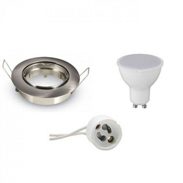 LED Spot Set - Aigi - GU10 Fitting - Inbouw Rond - Mat Chroom - 8W - Warm Wit 3000K - Kantelbaar Ø82mm-1