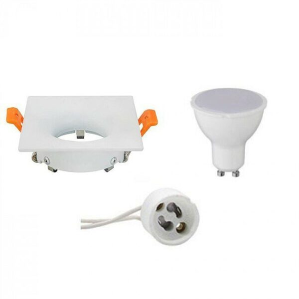 LED Spot Set - Aigi - GU10 Fitting - Inbouw Vierkant - Mat Wit - 8W - Helder/Koud Wit 6400K - 85mm-1
