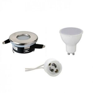 LED Spot Set - Aigi - GU10 Fitting - Waterdicht IP65 - Inbouw Rond - Mat Chroom - 8W - Helder/Koud Wit 6400K - Ø82mm-1
