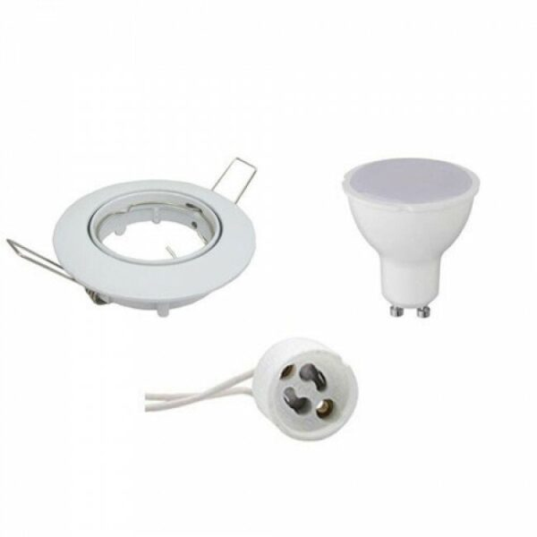 LED Spot Set - GU10 Fitting - Inbouw Rond - Glans Wit - 4W - Warm Wit 3000K - Kantelbaar Ø82mm-1