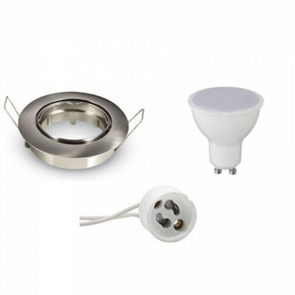 LED Spot Set - GU10 Fitting - Inbouw Rond - Mat Chroom - 4W - Helder/Koud Wit 6400K - Kantelbaar Ø82mm-1