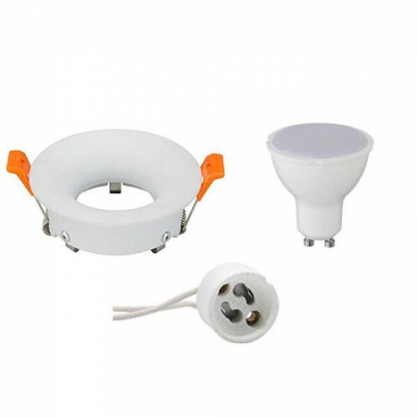 LED Spot Set - GU10 Fitting - Inbouw Rond - Mat Wit - 4W - Helder/Koud Wit 6400K - Ø85mm-1