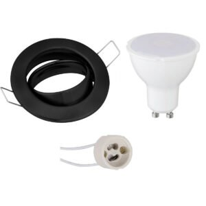 LED Spot Set - GU10 Fitting - Inbouw Rond - Mat Zwart - 4W - Warm Wit 3000K - Kantelbaar Ø82mm-1