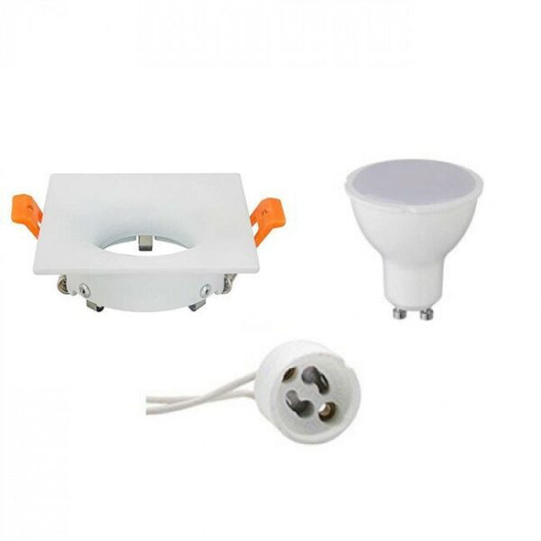 LED Spot Set - GU10 Fitting - Inbouw Vierkant - Mat Wit - 4W - Helder/Koud Wit 6400K - 85mm-1