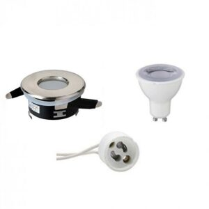LED Spot Set - GU10 Fitting - Waterdicht IP65 - Dimbaar - Inbouw Rond - Mat Chroom - 6W - Helder/Koud Wit 6400K - Ø82mm-1