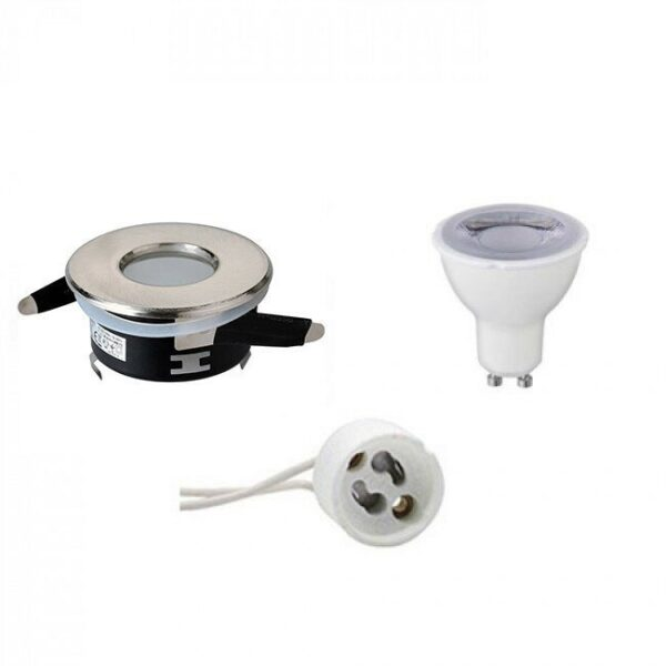 LED Spot Set - GU10 Fitting - Waterdicht IP65 - Dimbaar - Inbouw Rond - Mat Chroom - 6W - Warm Wit 3000K - Ø82mm-1