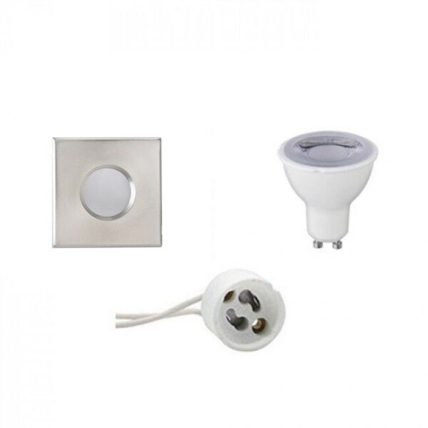 LED Spot Set - GU10 Fitting - Waterdicht IP65 - Dimbaar - Inbouw Vierkant - Mat Chroom - 6W - Warm Wit 3000K - 82mm-1