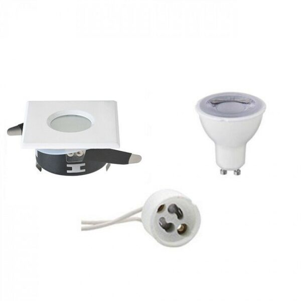 LED Spot Set - GU10 Fitting - Waterdicht IP65 - Dimbaar - Inbouw Vierkant - Mat Wit - 6W - Warm Wit 3000K - 82mm-1