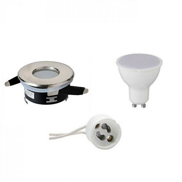 LED Spot Set - GU10 Fitting - Waterdicht IP65 - Inbouw Rond - Mat Chroom - 6W - Helder/Koud Wit 6400K - Ø82mm-1
