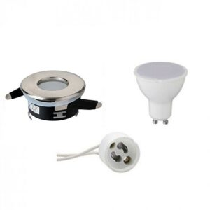 LED Spot Set - GU10 Fitting - Waterdicht IP65 - Inbouw Rond - Mat Chroom - 6W - Warm Wit 3000K - Ø82mm-1