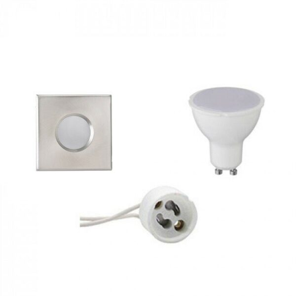 LED Spot Set - GU10 Fitting - Waterdicht IP65 - Inbouw Vierkant - Mat Chroom - 4W - Warm Wit 3000K - 82mm-1