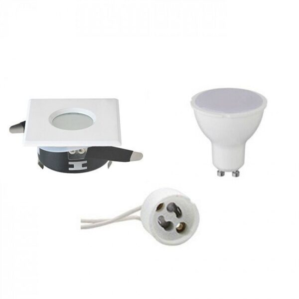 LED Spot Set - GU10 Fitting - Waterdicht IP65 - Inbouw Vierkant - Mat Wit - 4W - Helder/Koud Wit 6400K - 82mm-1