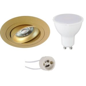 LED Spot Set - Pragmi Alpin Pro - GU10 Fitting - Inbouw Rond - Mat Goud - 4W - Warm Wit 3000K - Kantelbaar - Ø92mm-1