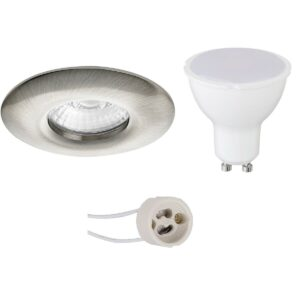 LED Spot Set - Pragmi Luno Pro - Waterdicht IP65 - GU10 Fitting - Dimbaar - Inbouw Rond - Mat Nikkel - 6W - Warm Wit 3000K - Ø82mm-1