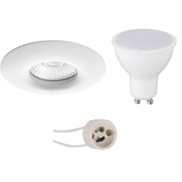 LED Spot Set - Pragmi Luno Pro - Waterdicht IP65 - GU10 Fitting - Dimbaar - Inbouw Rond - Mat Wit - 6W - Helder/Koud Wit 6400K - Ø82mm-1