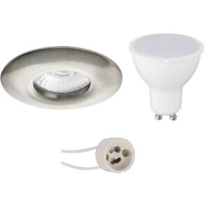 LED Spot Set - Pragmi Luno Pro - Waterdicht IP65 - GU10 Fitting - Inbouw Rond - Mat Nikkel - 6W - Warm Wit 3000K - Ø82mm-1