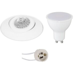 LED Spot Set - Pragmi Nivas Pro - GU10 Fitting - Inbouw Rond - Mat Wit - 6W - Warm Wit 3000K - Trimless - Kantelbaar - Ø150mm-1