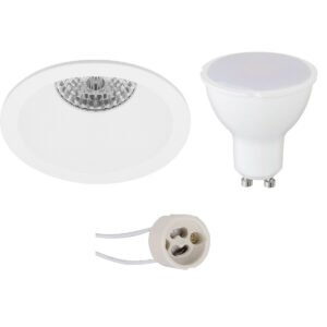 LED Spot Set - Pragmi Pollon Pro - GU10 Fitting - Inbouw Rond - Mat Wit - 4W - Warm Wit 3000K - Verdiept - Ø82mm-1