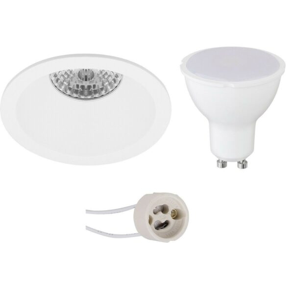 LED Spot Set - Pragmi Pollon Pro - GU10 Fitting - Inbouw Rond - Mat Wit - 6W - Warm Wit 3000K - Verdiept - Ø82mm-1