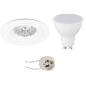 LED Spot Set - Pragmi Rodos Pro - GU10 Fitting - Inbouw Rond - Mat Wit - 4W - Helder/Koud Wit 6400K - Ø93mm-1