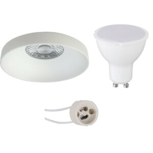 LED Spot Set - Pragmi Vrito Pro - GU10 Fitting - Dimbaar - Inbouw Rond - Mat Wit - 6W - Warm Wit 3000K - Ø82mm-1