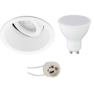 LED Spot Set - Pragmi Zano Pro - GU10 Fitting - Inbouw Rond - Mat Wit - 6W - Warm Wit 3000K - Kantelbaar - Ø93mm-1