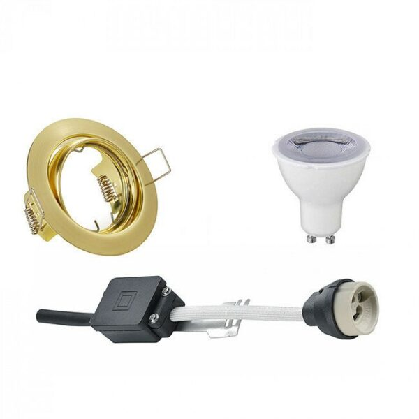 LED Spot Set - Trion - GU10 Fitting - Dimbaar - Inbouw Rond - Mat Goud - 6W - Helder/Koud Wit 6400K - Kantelbaar Ø83mm-1