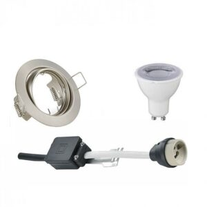 LED Spot Set - Trion - GU10 Fitting - Dimbaar - Inbouw Rond - Mat Nikkel - 6W - Warm Wit 3000K - Kantelbaar Ø83mm-1