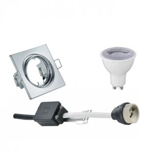 LED Spot Set - Trion - GU10 Fitting - Dimbaar - Inbouw Vierkant - Glans Chroom - 6W - Warm Wit 3000K - Kantelbaar 80mm-1