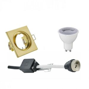 LED Spot Set - Trion - GU10 Fitting - Dimbaar - Inbouw Vierkant - Mat Goud - 6W - Warm Wit 3000K - Kantelbaar 80mm-1