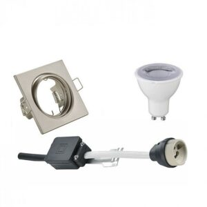 LED Spot Set - Trion - GU10 Fitting - Dimbaar - Inbouw Vierkant - Mat Nikkel - 6W - Warm Wit 3000K - Kantelbaar 80mm-1