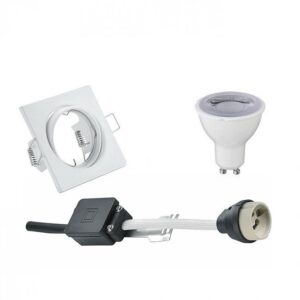 LED Spot Set - Trion - GU10 Fitting - Dimbaar - Inbouw Vierkant - Mat Wit - 6W - Helder/Koud Wit 6400K - Kantelbaar 80mm-1