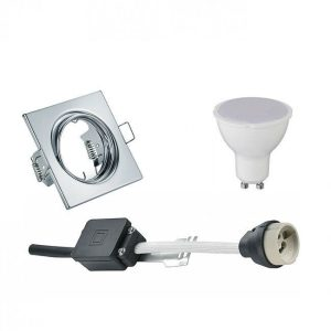 LED Spot Set - Trion - GU10 Fitting - Inbouw Vierkant - Glans Chroom - 6W - Helder/Koud Wit 6400K - Kantelbaar 80mm-1