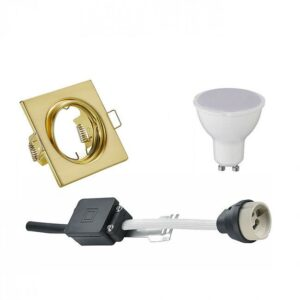 LED Spot Set - Trion - GU10 Fitting - Inbouw Vierkant - Mat Goud - 6W - Warm Wit 3000K - Kantelbaar 80mm-1