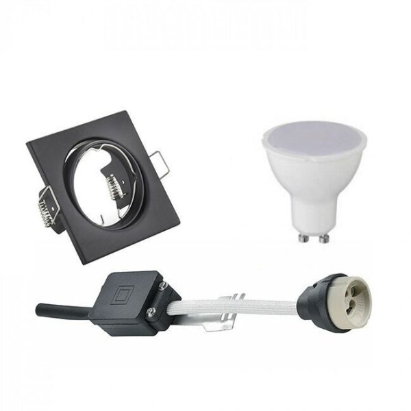 LED Spot Set - Trion - GU10 Fitting - Inbouw Vierkant - Mat Zwart - 4W - Warm Wit 3000K - Kantelbaar 80mm-1