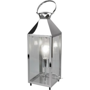 LED Tafellamp - Tafelverlichting - Trion Fala XL - E27 Fitting - Rechthoek - Mat Chroom - Aluminium-1