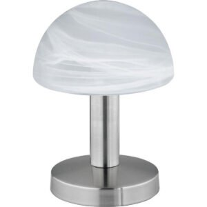 LED Tafellamp - Tafelverlichting - Trion Funki - E14 Fitting - Rond - Mat Wit - Aluminium-1