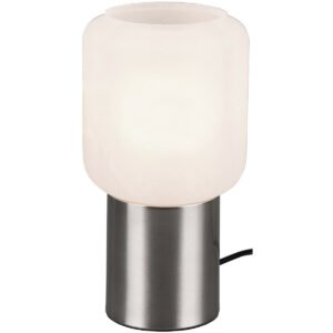 LED Tafellamp - Tafelverlichting - Trion Nikos - E27 Fitting - Rond - Mat Nikkel - Aluminium-1