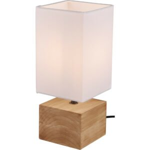 LED Tafellamp - Tafelverlichting - Trion Wooden - E14 Fitting - Vierkant - Mat Wit - Hout-1
