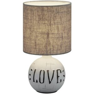 LED Tafellamp - Trion Ernami Love - E14 Fitting - Rond - Mat Grijs - Keramiek-1