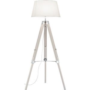 LED Vloerlamp - Trion Tripady - E27 Fitting - Rond - Mat Wit - Hout-1